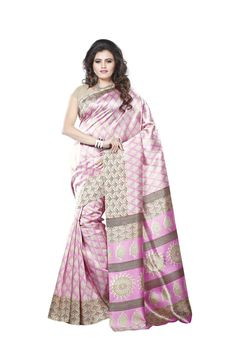 Impressive Light Pink and Beige Printed Saree. Ignite the party mood with this Bhagalpuri Silk Saree. This saree will keep you comfortable all day long. This saree is quite comfortable to wear and easy to drape as well. This saree comes with matching unstitch Blouse. #casualsaree, #printedsaree, #bhagalpurisilksaree http://www.addsharesale.com/