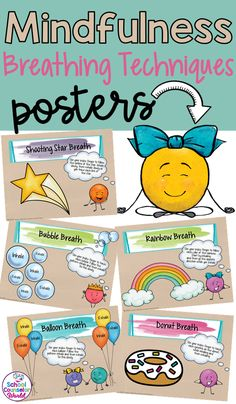 Mindfulness Breathing Techniques Posters - Summer Educational Crafts For Kids Social Work Activities, Social Emotional Activities, Emotions Activities, Social Skills Lessons, Social Skills Activities, Life Skills, Social Skills For Kids, School Counselor Lessons, Elementary School Counselor