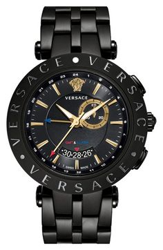 Versace V-Race GMT Alarm Schwarz plattierte Herrenuhr - Products - Technologie White Watches For Men, Best Watches For Men, Vintage Watches For Men, Luxury Watches For Men, Cool Watches, Men's Watches, Analog Watches, Dress Watches, Cheap Watches
