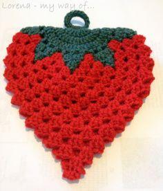 Sigo con el crochet Agarraderas: Fresa y Sandía  by my way of...