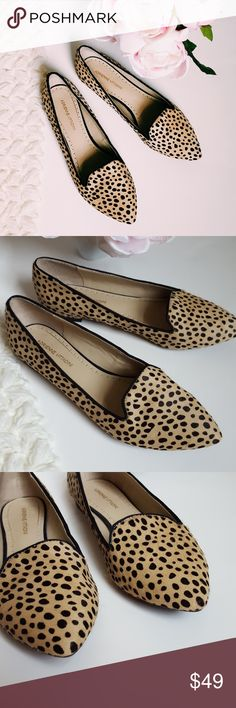 Adrienne Vittadini | calf fur pointed toe flats In good condition! Beautiful calf fur flats, size 8. Pointed toe style Adrienne Vittadini flats.Used item: pictures show any signs of wear. Inspected for quality and wear. Bundle up! Offers always welcome:) Adrienne Vittadini Shoes