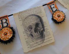 BEWARE Halloween Paper Bunting Garland Banner by shrinemaiden, $19.00