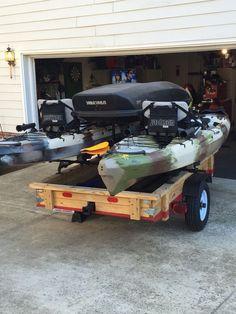 Kayak Trailer Kayak Fishing Coach Ken Jackson Cuda – Famous Last Words Kayak Fishing Gear, Fishing Boots, Canoe And Kayak, Gone Fishing, Fishing Stuff, Bass Fishing, Kayak Storage Rack, Kayak Rack, Accessoires Kayak