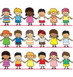 Cute children holding hand vector 574128 - by hatza on VectorStock®