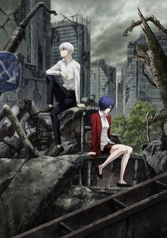 Tokyo Ghoul: re, the ongoing TV anime adaptation based on the dark fantasy manga by Sui Ishida about people who are cursed with supernatural powers and an insatiable craving for human flesh, Tokyo Ghoul Uta, Tokyo Ghoul Manga, Anime Japan, Tokyo Ghoul Cosplay, Touka Kaneki, Juuzou Suzuya, Ghibli, Anime Gifs, Manga Anime