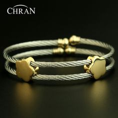 Unique Costume Jewelry Fashion Silver Plated Flower Bangles Bijous Wholesale Lucky 2 Rows Stainless Steel Bracelets For Women