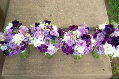 white lavender, and purple wedding bouquets