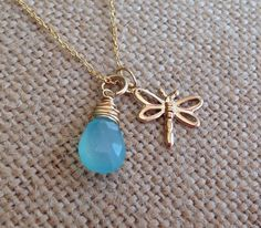 Dainty gold dragonfly pendant with gold wrapped blue gemstone. Aqua blue chalcedony. Gift for niece, aunt gift, bridesmaid gift Mommy neckl