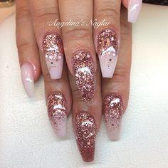 Pink Chrome Nails, Gold Acrylic Nails, Gold Glitter Nails, Rose Gold Nails, Nail Art Designs, Acrylic Nail Designs, Fabulous Nails, Gorgeous Nails, Ongles Or Rose