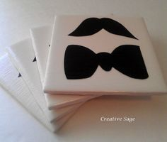 Bow Tie and Mustache Ceramic 4 Coaster Set by CreativeSage on Etsy, $12.50