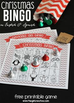 Printable Christmas Bingo Game - in English and Spanish - The Girl Creative - Everything you need to start a new holiday tradition with your family. #justaddkisses