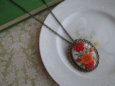 Vintage Red & Orange Flower Brooch into Pendant Necklace, Antique Gold Bronze, Filigree Setting, Statement Pendant Necklace, Pin, Brooch on Etsy, $25.00