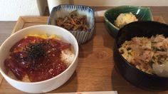 マグロ丼とぶっかけうどんの定食( ̄(エ) ̄)v