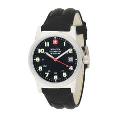0a8b0f766d8 Wenger Swiss Military Men s 72925 Classic Field Black Dial Black Leather Military  Watch Wenger Swiss Military
