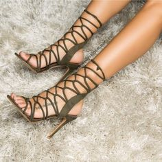 Olive green strappy heels perfect for autumn