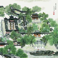 China Suzhou, Suzhou garden, Chinese ink painting,Landscape garden painting