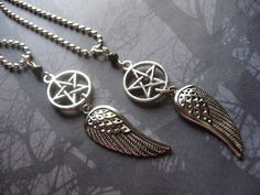 Supernatural Buddies Angel Pentagram Necklaces with by AngelQ, $19.95