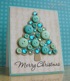 B Make beautiful Christmas cards yourself - Karten - Beautiful Christmas Cards, Diy Christmas Cards, Homemade Christmas, Christmas Photos, Xmas Cards Handmade, Christmas Buttons, Christmas Button Crafts, Beautiful Handmade Cards, Disney Christmas