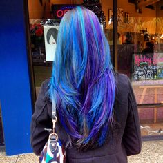 Blues and purple vivid long layered hair @Chris Cote Cote Khoshghadami