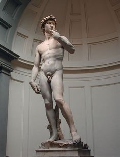 Michelangelo's David  |  Michelangelo's early work shows the human being as the measure of all things: idealized, muscular, confident, and quasi-divine. Gradually that image becomes more expressive, more human, less perfect, fallible, and flawed. He loved turning and twisting poses full of latent energy, and faces that expressed the full range of human emotion.