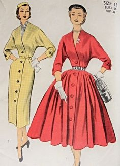 Lovely Full or Slim Skirt Dress Pattern Day or Evening V Neckline Front Button Very Loretta Young Advance 6138 Vintage Sewing Pattern Bust 32 coral red coat dress button front pencil full skirt yellow cream 1950s Dress Patterns, Vintage Sewing Patterns, Vintage 1950s Dresses, Vintage Outfits, 60s Dresses, Vintage Clothing, 1950s Fashion, Vintage Fashion, Club Fashion