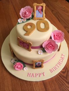 90th Birthday Cake with Gold Photo Frames and Pink Roses.