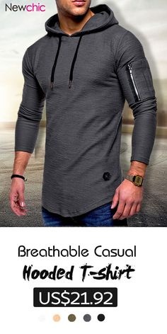 Mens Breathable Solid Color Irregular Hem O-neck Long Sleeve Slim Casual Hooded T Shirts is fashion and stylish, especially suitable to wear in summer, mens t shirt is on sale on NewChic. Flannel Hoodie Mens, Oversized Hoodie Outfit, Skirt Pattern Free, Dapper Men, Men Style Tips, Stylish Men, Workout Shirts, Sweatshirts, Men's Hoodies