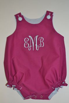 Monogrammed Baby Girl Bubble Romper.  Need a sweater to match mine and my sisters when we were little. haha