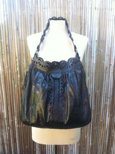 90f7502fec Brighton-LOCKHEART-Black-Leather-Handbag-Shoulder-Purse-W-Cutout-Details-EUC