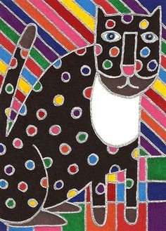 Rainbow Sky Cat,  David Venne - a  needlepoint kit from The Silk Mill complete with all the silks.