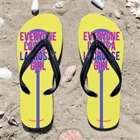Everyone Loves A Lacrosse Girl on Yellow Flip Flops - Kick back after a lacrosse game with these great flip flops! Fun and functional flip flops for all lacrosse players and fans.