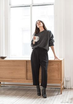 Style Story: Laura Ferrara / Garance Doré Wide legged, cropped trouser with long boots underneath. Slouchy boat neck sweater.