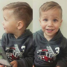 Toddler hard part haircut.