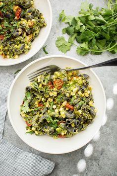 Chipotle Cilantro Pesto Black Bean Summer Pasta | http://naturallyella.com