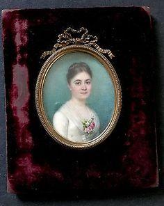 Portrait miniature Signé C.Mont en 1886
