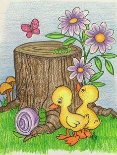 Small Drawings, Art Drawings For Kids, Easy Drawings, Cartoon Drawing For Kids, Scenery Drawing For Kids, Oil Pastel Paintings, Oil Pastel Art, Pencil Art Drawings, Art Drawings Sketches
