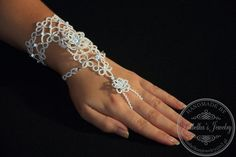 Lace tatted slave bracelet for bridal by IzabelkasJewelry on Etsy