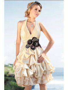 Beige Retro Halter Gown