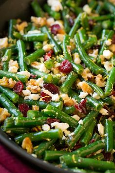 Lemon Butter Green Beans with Cranberries Walnuts and Feta - Cooking Classy
