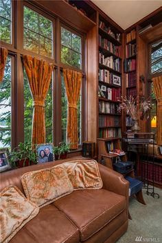 The warm & rich color scheme in this Seattle, WA home make the library the coziest room in the house! Cozy Room, Home Office, Color Schemes, Seattle, Real Estate, Curtains, Warm, House, Libraries