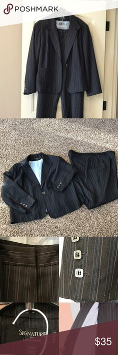 Woman's Pant Suit Larry Levine Signature Clothes Black Blue pinstriped 2 piece fully lined suit. Blazer has 2 pockets. Pants have 2 back pockets. Only worn twice; one to an interview, and once on the job.   My boss then told me I was a little too dressed up. It is a true size 22. Pant Inseam 30 in; waist 43 in. I am not a seamstress so all measurements are to the best of my capability. When I got the suit some of the buttons were loose. I have since tighten them. Larry Levine Other