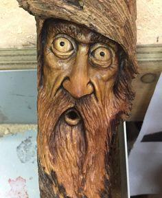 Moonshiner Wood Spirit Wood Carving Mountain Man by JoshCarteArt