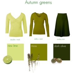 Moss, dark olive = yes!  Lime = so-so. -CQ   Autumn greens by kettlewellcolours on Polyvore