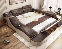 Real Genuine Leather Bed With Massage Double Beds Frame King