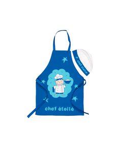 Simpático y original regalo para los pequeños chef de casa. Compuesto por un delantal y gorro de cocina en tonos blanco y azul. Compara ahora y recíbelo en 24h.