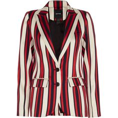 Smythe Cricket Blazer (46.915 RUB) ❤ liked on Polyvore featuring outerwear, jackets, blazers, long sleeve blazer, cotton lined jacket, striped jacket, smythe jackets and striped blazer