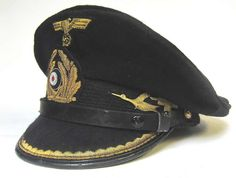 Reproduction German U-Boat Kreigsmarine Chief Engineers Peaked cap. This cap has been made to look worn after a few patrols and still period. It has not been made to look 70+ years old. Think of it as frozen in time between 1943 and 1944.   http://www.warhats.com/store/p483/WW2_Kreigsmarine_U-Boat_Cap_U-541_10th_Flotilla_Leitender_Ingenieur_%28Chief_Engineer%29_-_Period.html   www.warhats.com