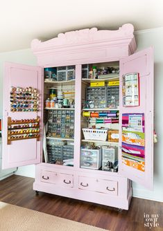 Organization Ideas organized home 11 Craft Room Ideas: Organized & Reverse-Engineered Antique armoire filled with perfectly organized sewing supplies Craft Room Storage, Craft Storage Cabinets, Craft Cabinet, Craft Organization, Craft Armoire, Sewing Cabinet, Craft Cupboard, Art Storage, Storage Shelves