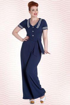 1950s Style Pants 50s Ambleside Jumpsuit in Navy £60.25 AT vintagedancer.com