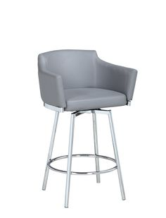 Chintaly Modern Club Bar Stool w/ Memory Swivel DUSTY-BS-GRYThis modern style counter stool features quality faux leather upholstery with a short style backrest for comfort. The stool's armrests provide additional comfort while the swivel motion e Bar Counter, Counter Stools, Acrylic Bar Stools, Bar Stools With Backs, Swivel Bar Stools, Foot Rest, Upholstery, Modern, Furniture